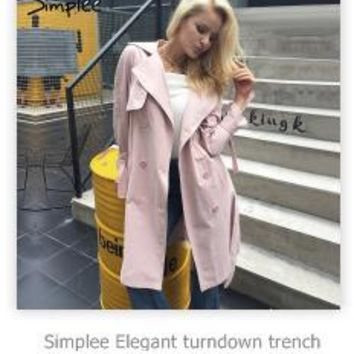 Ruffle trench coat women outerwear & coats Autumn sash pocket streetwear trench Casual pink outwear female coat