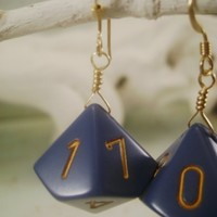 Blue and Gold d10 Dice Earrings by wyrdandwired on Etsy