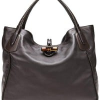 DCCKUG3 Gucci Dark Brown Leather Hip Bamboo Large Tote Bag