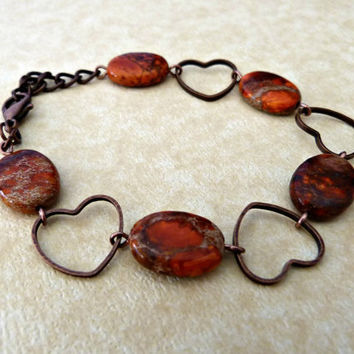 Coral Impression Jasper and Hearts Link Bracelet