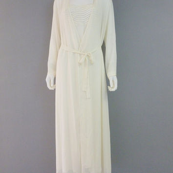 Designer Peignoir Set Ivory Sheer Nighgown and Robe Flora Nikrooz Nightgown Set Wedding Romantic Sleepwear Vintage Lingerie