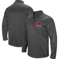 Men's Colosseum Charcoal Arkansas Razorbacks Fleece Quarter-Zip Pullover Jacket