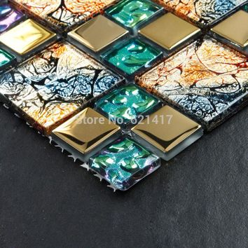 Iridescent seven color symphony gold electroplate crystal glass mosaic tiles