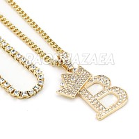 Iced Out Crown B Initial Pendant Necklace Set