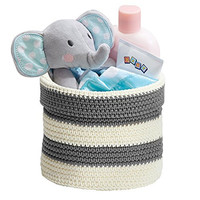 Knit Baby Nursery Closet Organizer Bin for Lotion, Medicine, Bibs, Books, Toys - Small, Gray/Ivory