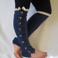 Leg warmers- slouchy open button down lace cobalt blue leg warmers knit lace leg warmers boot socks christmas gifts