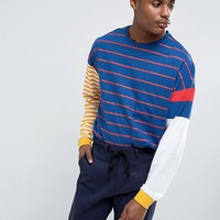 ASOS Oversized Long Sleeve T-Shirt With Contrast Stripe at asos.com