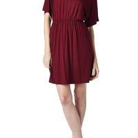 82 Days Women'S Rayon Span Short Sleeves with Elastic Waistband Mini Dress - Solid