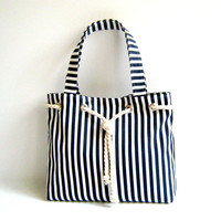 Sailor Tote Bag  -navy blue and white striped, with cotton rope accessory-