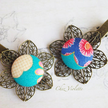 2 hair clip blue Japanese fabric hair clips button Romantic hair Jewelry Floral hairstyles fancy