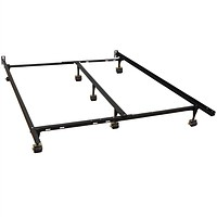 California King size Metal Bed Frame with 7-Legs and Locking Rug Rollers Wheels