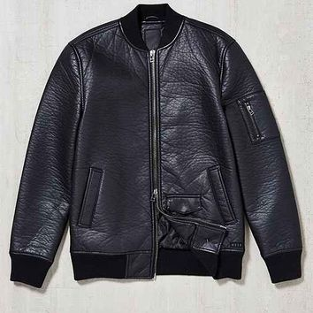 KR3W Burnett Faux-Leather Bomber Jacket