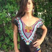Enchanted Brown Day Tripper Dress, Tunic, Hippie, Burning Man, Boho, Bohemian, Tribal, Festival Clothing, Hippie Chic, Sexy, Mini Dress