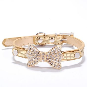 Cute Pet Bling Rhinestone Pet Cat Dog Bow Tie Collar Necklace Jewelry for Small