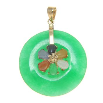 ROUND CIRCLE MULTI COLOR GREEN JADE PENDANT SOLID 14K YELLOW GOLD