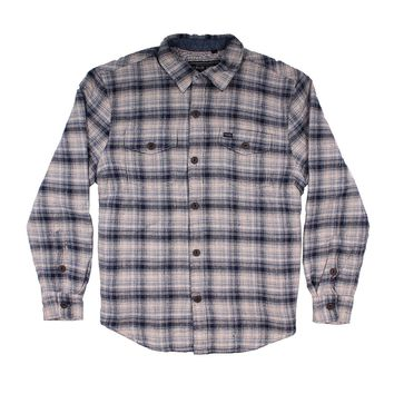 Summit Shirt Textured Jacket with Sherpa Lining in Indigo Plaid by True Grit