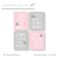 Koala Girl Wall Art, Pink and Gray Nursery Decor, Playroom Art - You Are My Sunshine prints, baby shower gift, custom colors, YassisPlace