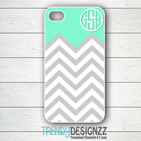 Personalized iPhone case, Monogram case, iPhone 4 case, iPhone 5 case, Personalized Cover, Mint Gray Chevron Case, iPhone cover (2107)