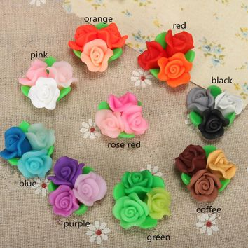 10pcs/lot 25mm Elegant Polymer Clay Fimo Rose Flower Beads Diy Phone Case Decoration Floral Hair Jewelry Necklace Earring Supply
