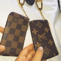 LV tide brand female classic chessboard old flower clutch bag purse key case