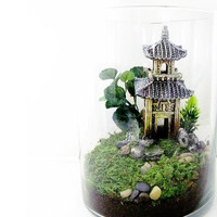 Oriental Terrarium: Chinese Pagoda Landscape with Live Moss Plant, Miniature House & Glass Jar