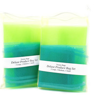 Reusable Produce Bags (Deluxe Set - 2 Large Lime Green, 2 Medium Teal, 1 Small Yellow)