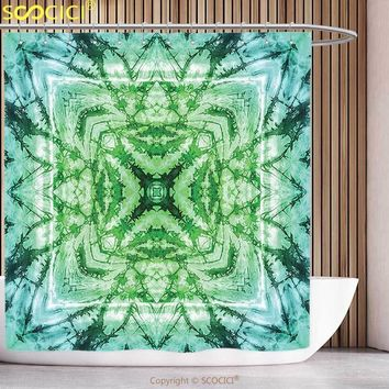 Funky Shower Curtain Tie Dye Decor Abstract Square Shaped Kaleidoscope with Murky Psychedelic Expansions Pattern Green Teal