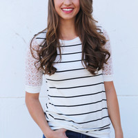 Riptide Striped Tee {White}