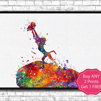 The Lion King Rafiki and Simba Watercolor Art Print Disney Lion King Poster Simba Children's Room Art Giclee Wall Hanging Baby Room Nursery