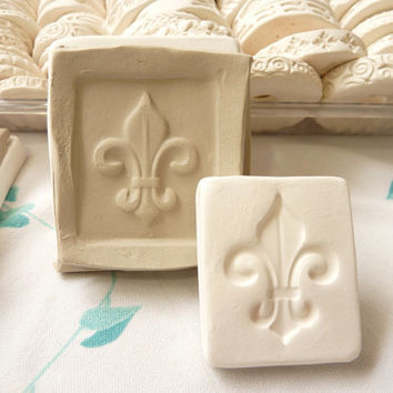 Clay Stamp Small Fleur De Lis Pottery Press Mold Relief Mold or Sprig Mold Bisque Clay Stamp for Ceramic Decoration and Texture