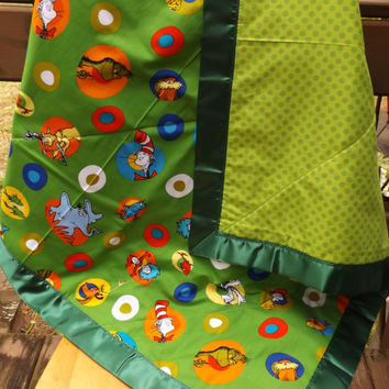 Sale - Handmade Green Celebrate Seuss Fabric Large Crib Baby Quilt, Multiple Character Fabric, Modern Crib Quilt