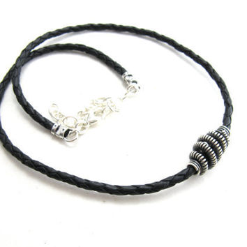 Sterling Silver Wire Wrapped Coiled Bead Leather Choker Necklace Unisex Mens Womens Adjustable Handmade Jewelry