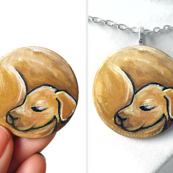 Golden Retriever Dog Necklace, Yellow Labrador, Pet Portrait, Animal Art Jewelry, Memorial Gift for Her, Nap Time, Sleeping Dog