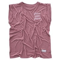 Grace Upon Grace Embroidered Dusty Rose Women's Rolled Cuff Muscle T-Shirt
