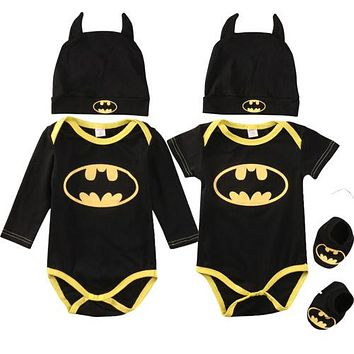 Fashion Batman Baby Boys Rompers Jumpsuit Cotton Tops+Shoes+Hat 3Pcs Outfit Clothes Set Newborn Toddler 0-24M Kids Clothes