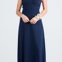 Navy Blue Long Formal Dress with Halter Embellished Neckline