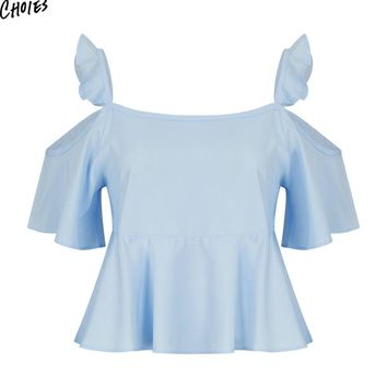 Blue Cold Shoulder Ruffle Backless Blouse Summer Half Sleeve Square Neck Casual Pleated Women  Top Clothing