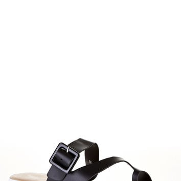 Black Toe Post Sandals with Cleated Sole