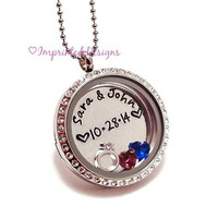 Couples Floating Locket / Wedding Necklace / Anniversary Jewelry / Floating Charm Necklace