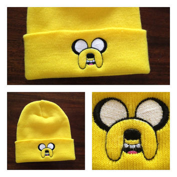 Adventure Time Jake The Dog Beanie Hat  Yellow by thebignicktizzle