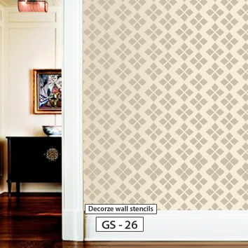 Geometric pattern reusable stencil for wall design, GS-26