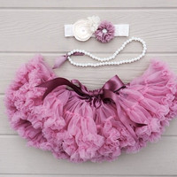 Dusty rose Petti Skirt. Baby lace tutu. Baby girl photo prop. Dusty pink petti skirt. Baby tutu. Cake smash outfit.