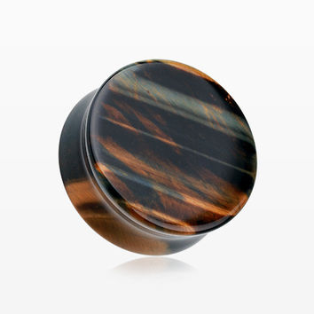 A Pair of Blue Tiger Eye Stone Double Flared Ear Gauge Plug
