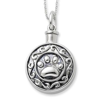 Rhodium Plated Sterling Silver Paw Print Ash Holder Necklace, 18 Inch