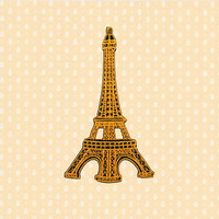 Yellow Eiffel Tower Iron On Patch Embroidered Sew On Apllique DIY Jeans Patches