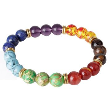 Colorful Mens Womens 7 Stone Chakra Healing Reiki Prayer Bead Bracelet Good Gift