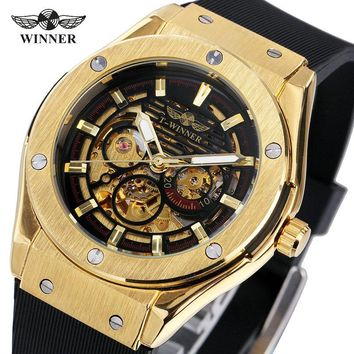 WINNER Luxury Mens Mechanical Watches Rubber Strap Male Automatic Skeleton Wrist Watches Luminous Hands Gift for Male +box