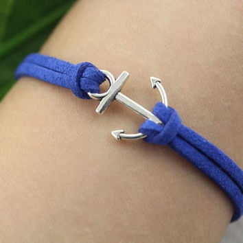 bracelet--anchor bracelet,antique silver charm bracelet,anchor pendant,Sapphire blue leather bracelet,MORE COLORS