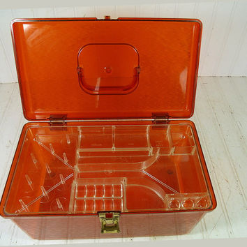 Retro Clear Amber Wilhold Wilson Sewing Box - Vintage Rectangular Plastic 2 Piece Carry All - Crafters Tote Organizer - Artisans Tool Chest