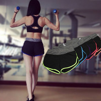 Women Hollow Bandage Casual Sport Suit Fitness Sportswear Stretch Exercise Yoga  Shorts Trousers Pants _ 2108